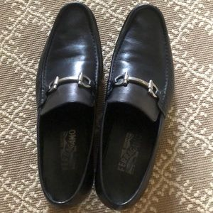 Men's black Ferragamo loafers.